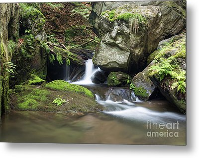 Metal Print featuring the photograph Stone Guardian Of The Waterfalls - Bizarre Boulder On The Bank by Michal Boubin