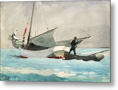 Stowing Sail Metal Print