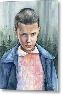Stranger Things Eleven Portrait Metal Print by Olga Shvartsur