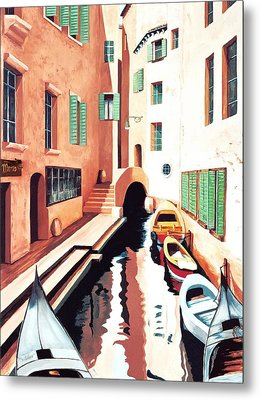 Streets Of Venice - Prints From Original Oil Painting Metal Print