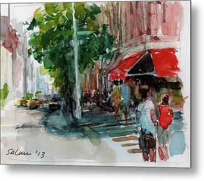 Streetscape With Red Awning - 82nd Street Market Metal Print by Peter Salwen