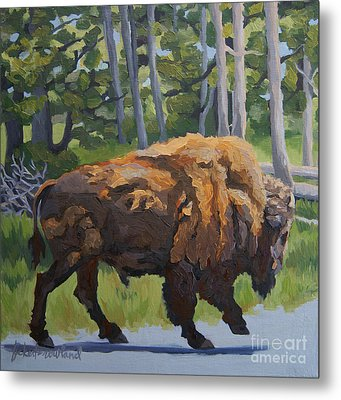 Metal Print featuring the painting Strutting Along, Yellowstone by Erin Fickert-Rowland