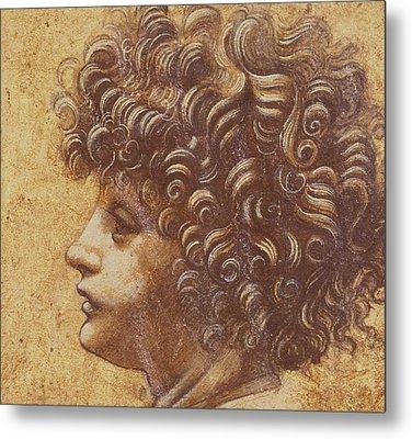 Study Of A Child's Head Metal Print by Leonardo Da Vinci