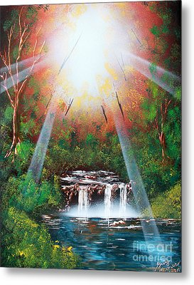 Metal Print featuring the painting Sunbeam Falls by Greg Moores