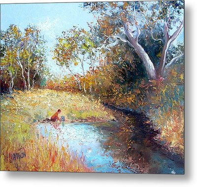 Sunday By The Creek Metal Print