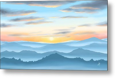 Metal Print featuring the painting Sunrise by Veronica Minozzi