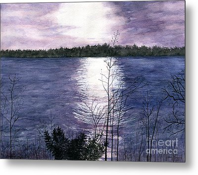 Metal Print featuring the painting Sunset At Niagara River New York by Melly Terpening