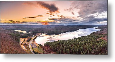 Sunset At Saville Dam - Barkhamsted Reservoir Connecticut Metal Print by Petr Hejl