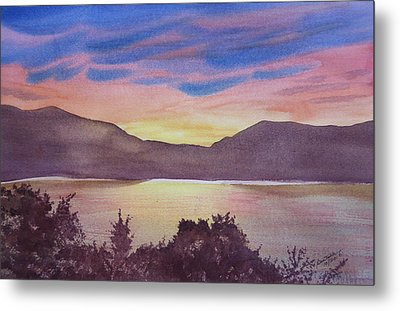 Metal Print featuring the painting Sunset At Woodhead Campground by Joel Deutsch