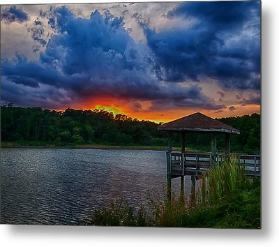 Metal Print featuring the photograph Sunset Huntington Beach State Park by Bill Barber