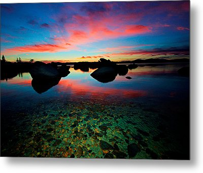 Sunset With A Whale Metal Print