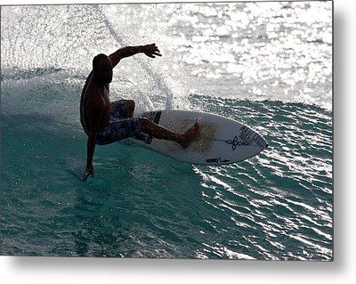 Surfer Surfing The Blue Waves At Dumps Maui Hawaii Metal Print by Pierre Leclerc Photography