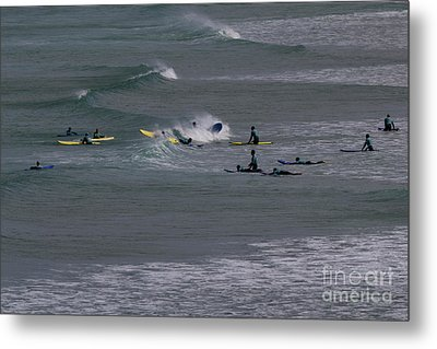 Metal Print featuring the photograph Photographs Of Cornwall Surfers At Fistral by Brian Roscorla