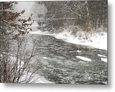 Swinging Bridge In Snow Storm Metal Print by Thomas R Fletcher
