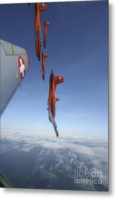 Swiss Air Force Display Team, Pc-7 Metal Print by Daniel Karlsson