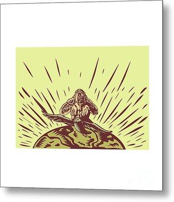 Tagaloa Releasing Bird Plover Earth Woodcut Metal Print