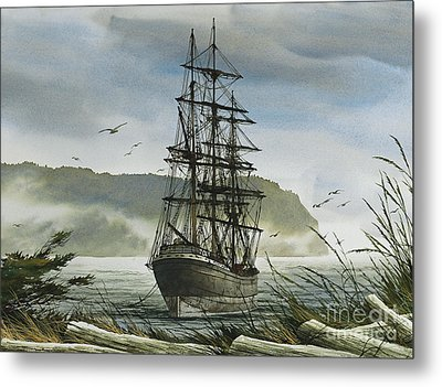 Metal Print featuring the painting Tall Ship Cove by James Williamson
