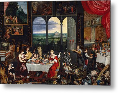 Taste, Hearing And Touch Metal Print by Jan Brueghel the Elder