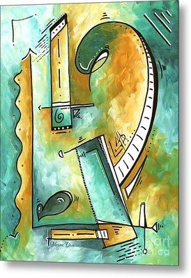 Teal Dreams Fun Funky Original Pop Art Style Abstract Painting By Megan Duncanson Metal Print