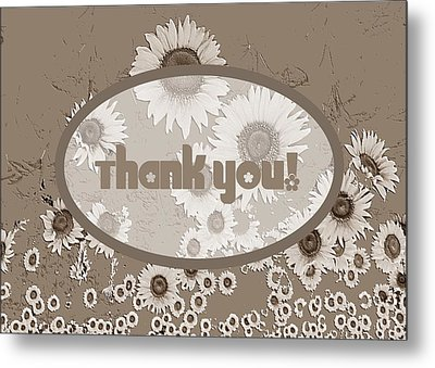 Thank You Card Daisies Metal Print