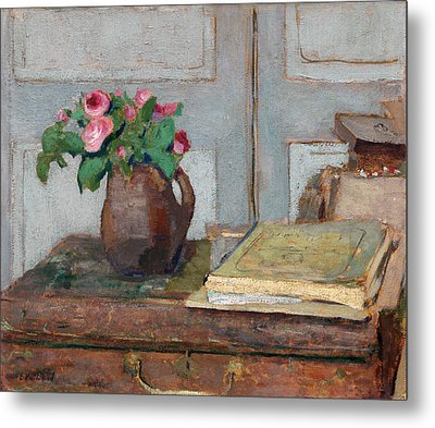 The Artist's Paint Box And Moss Roses Metal Print