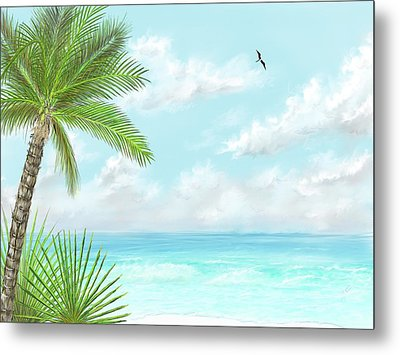 Metal Print featuring the digital art The Beach by Darren Cannell