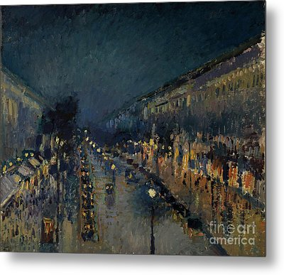 The Boulevard Montmartre At Night Metal Print by Camille Pissarro