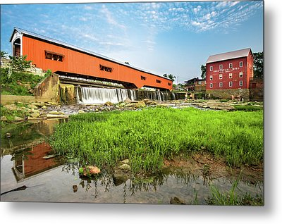 The Bridgeton Mill And Covered Bridge - Indiana Metal Print by Gregory Ballos