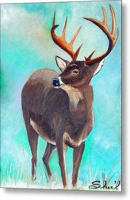 Metal Print featuring the painting the Buck Stops Here by Sherril Porter