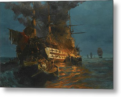 The Burning Of A Turkish Frigate Metal Print