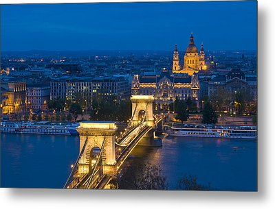 The Chain Bridge In Budapest Metal Print by Kobby Dagan