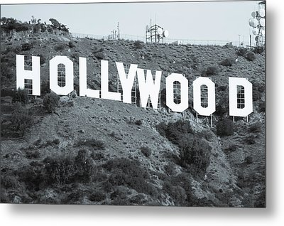 The Famous Hollywood Sign In Hollywood California In Black And White Metal Print by Gregory Ballos