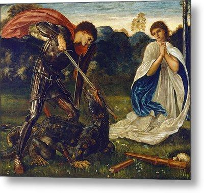 The Fight St George Kills The Dragon  Metal Print