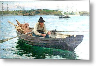 Metal Print featuring the painting The Fisherman by Henry Scott Tuke