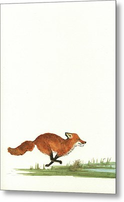 The Fox And The Pelicans Metal Print