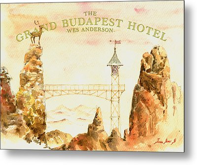 The Grand Budapest Hotel Watercolor Painting Metal Print by Juan  Bosco