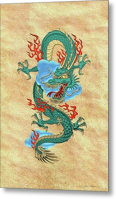 The Great Dragon Spirits - Turquoise Dragon On Rice Paper Metal Print by Serge Averbukh