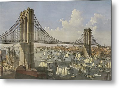 The Great East River Suspension Bridge Metal Print by Currier and Ives
