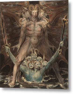 The Great Red Dragon And The Beast From The Sea Metal Print by William Blake