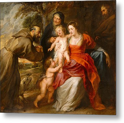 The Holy Family With Saints Francis And Anne And The Infant Saint John The Baptist Metal Print by Peter Paul Rubens