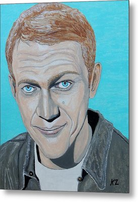 Metal Print featuring the painting The King Of Cool.steve Mcqueen. by Ken Zabel
