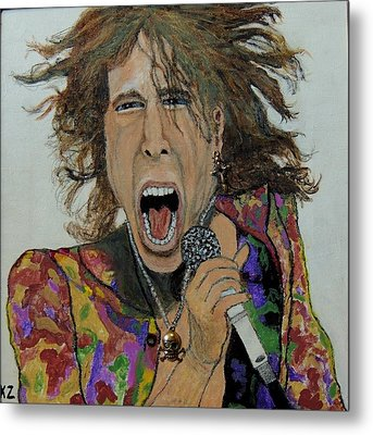 Metal Print featuring the painting The Madman Of Rock.steven Tyler. by Ken Zabel