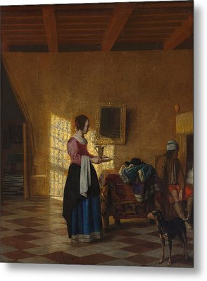 The Maidservant Metal Print by Pieter de Hooch