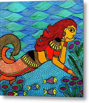 The Mermaid In Madhubani Metal Print