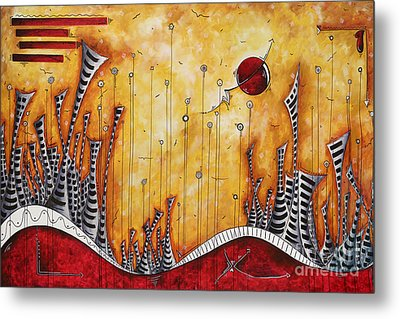 The Outpost Oversized Original Cityscape Apocalyptic Painting By Megan Duncanson Metal Print