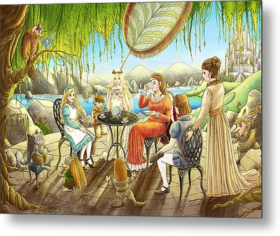 The Palace Garden Tea Party Metal Print