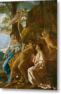 The Poet's Inspiration Metal Print by Nicolas Poussin