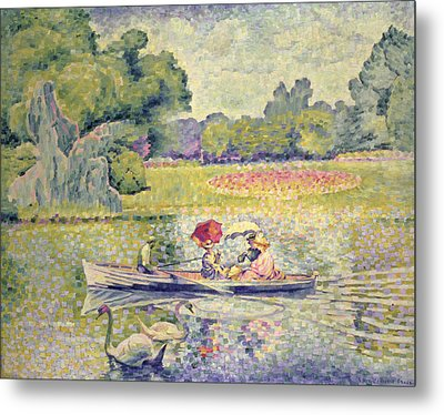 The Promenade In The Bois De Boulogne Metal Print by Henri-Edmond Cross