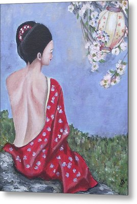 The Red Kimono Metal Print