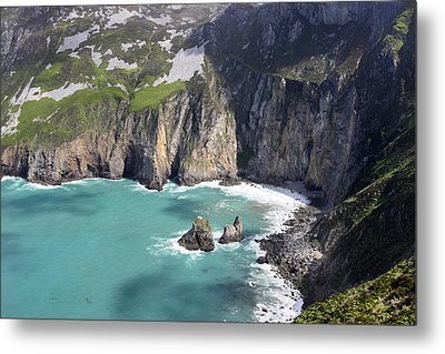 The Turquoise Water At Slieve League Sea Cliffs Donegal Ireland  Metal Print by Pierre Leclerc Photography